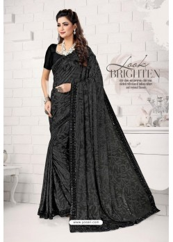 Black Designer Lycra Saree