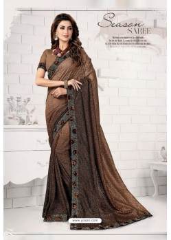 Elegant Brown Designer Lycra Saree
