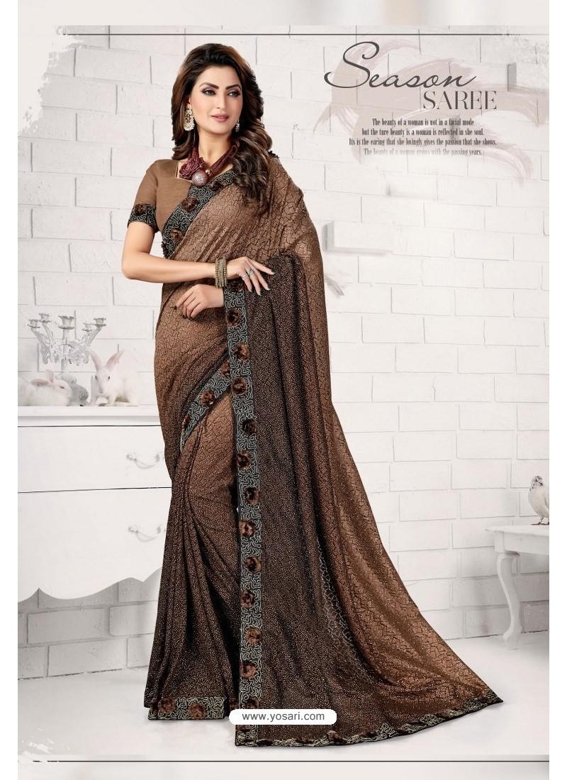 Elegant Brown Designer Lycra Saree