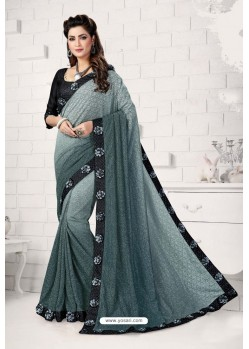 Grey Designer Lycra Saree