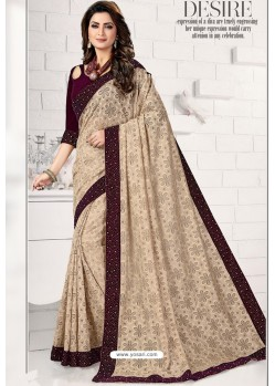 Light Beige Designer Lycra Saree