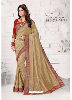 Golden Designer Lycra Saree