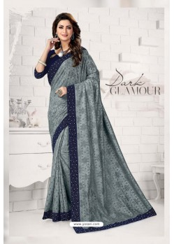 Stylish Grey Designer Lycra Saree