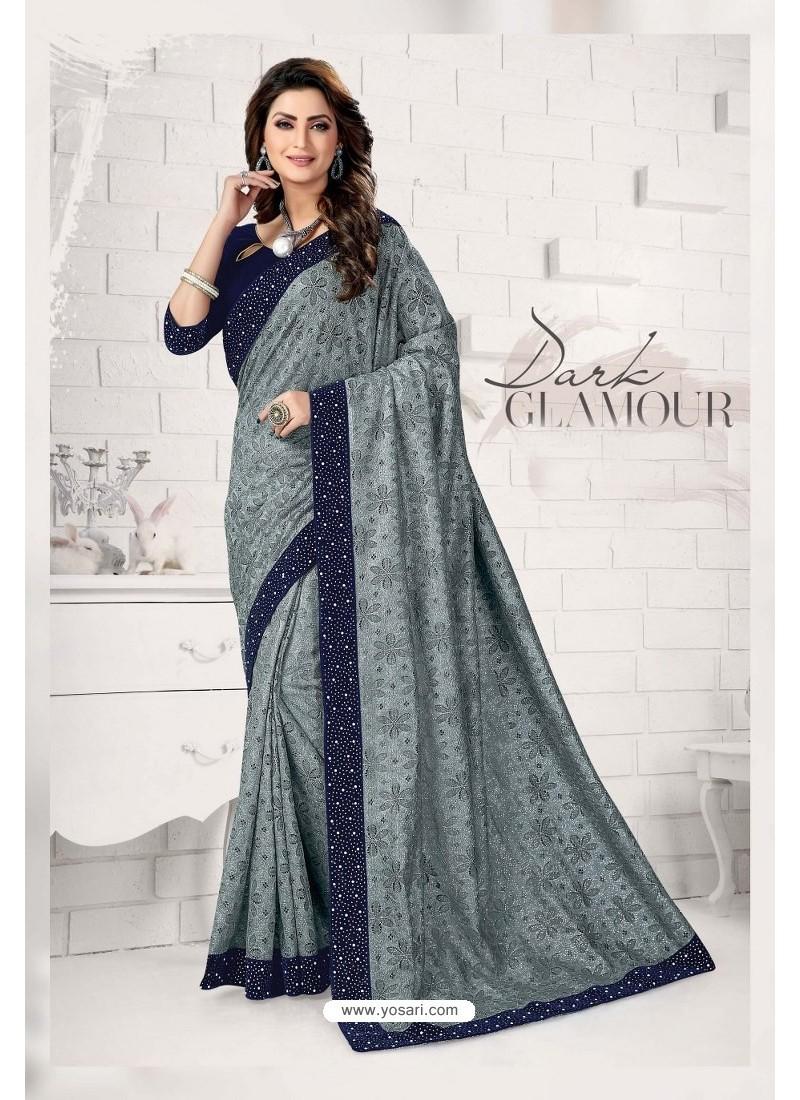 Stylish Grey Designer Lycra Saree