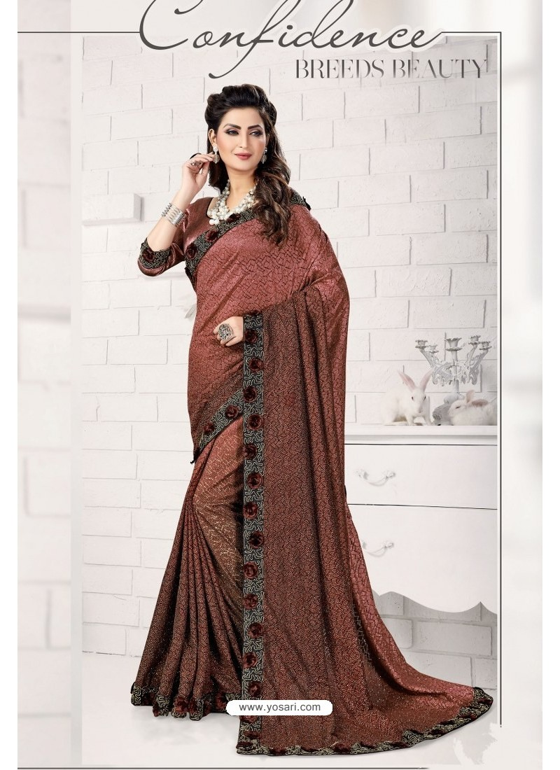 Brown Designer Lycra Saree