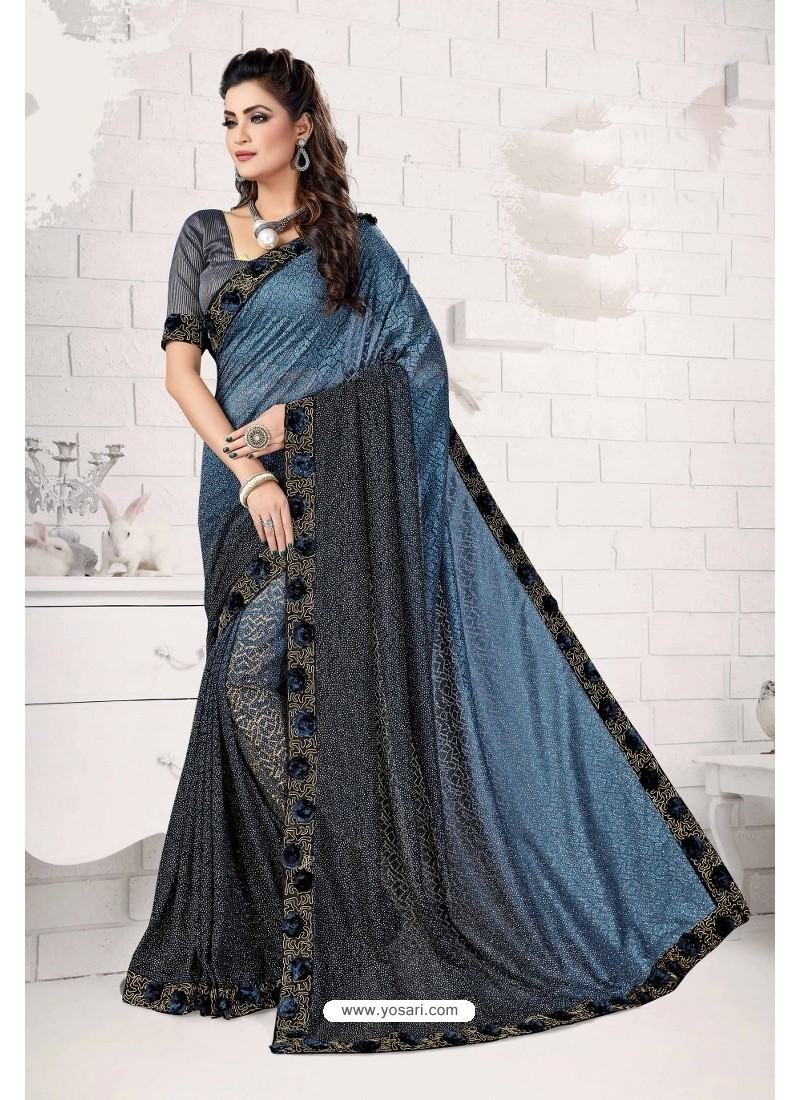 Blue Designer Lycra Saree