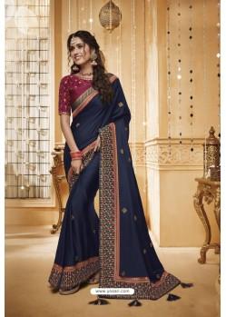 Navy Blue Designer Silk Party Wear Saree