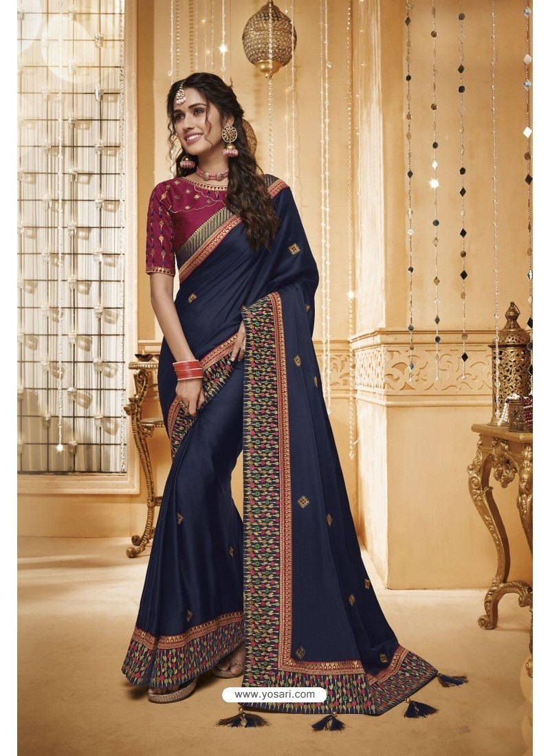 Navy Blue Designer Silk Party Wear Saree