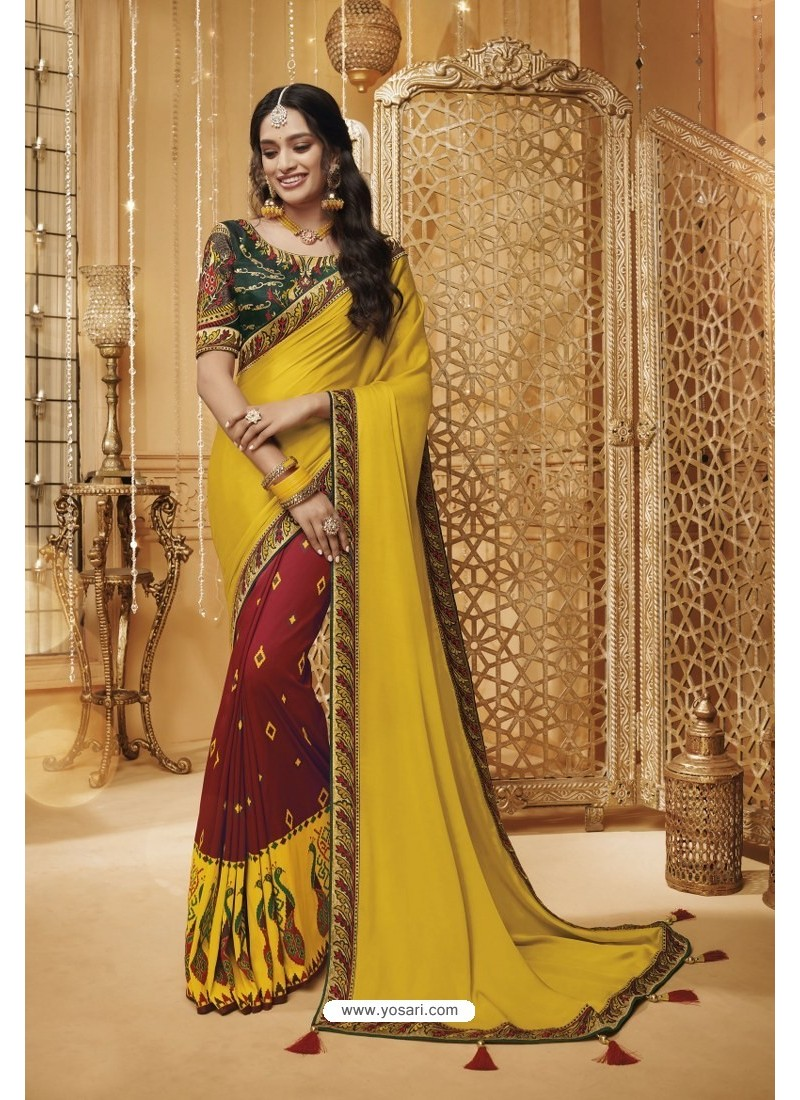 Yellow And Maroon Designer Silk Party Wear Saree