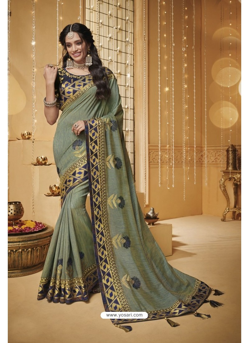 Olive Green Designer Silk Party Wear Saree