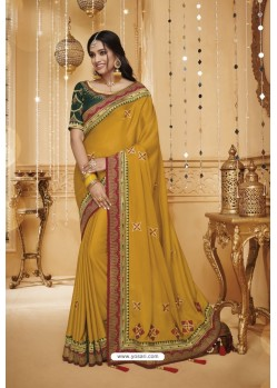 Yellow Designer Silk Party Wear Saree
