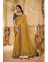 Yellow Designer Silk Party Wear Saree
