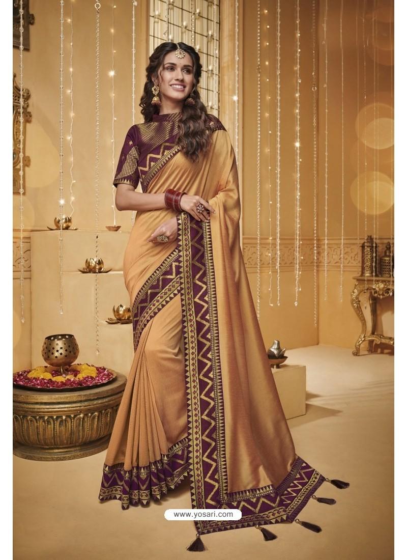 Light Orange Designer Silk Party Wear Saree