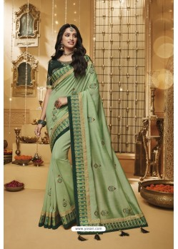 Sea Green Designer Silk Party Wear Saree