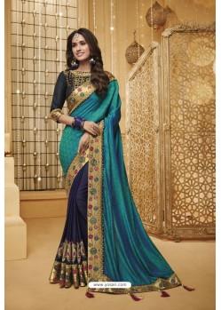 Teal Blue And Navy Designer Silk Party Wear Saree