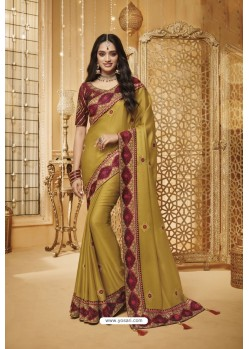 Marigold Designer Silk Party Wear Saree