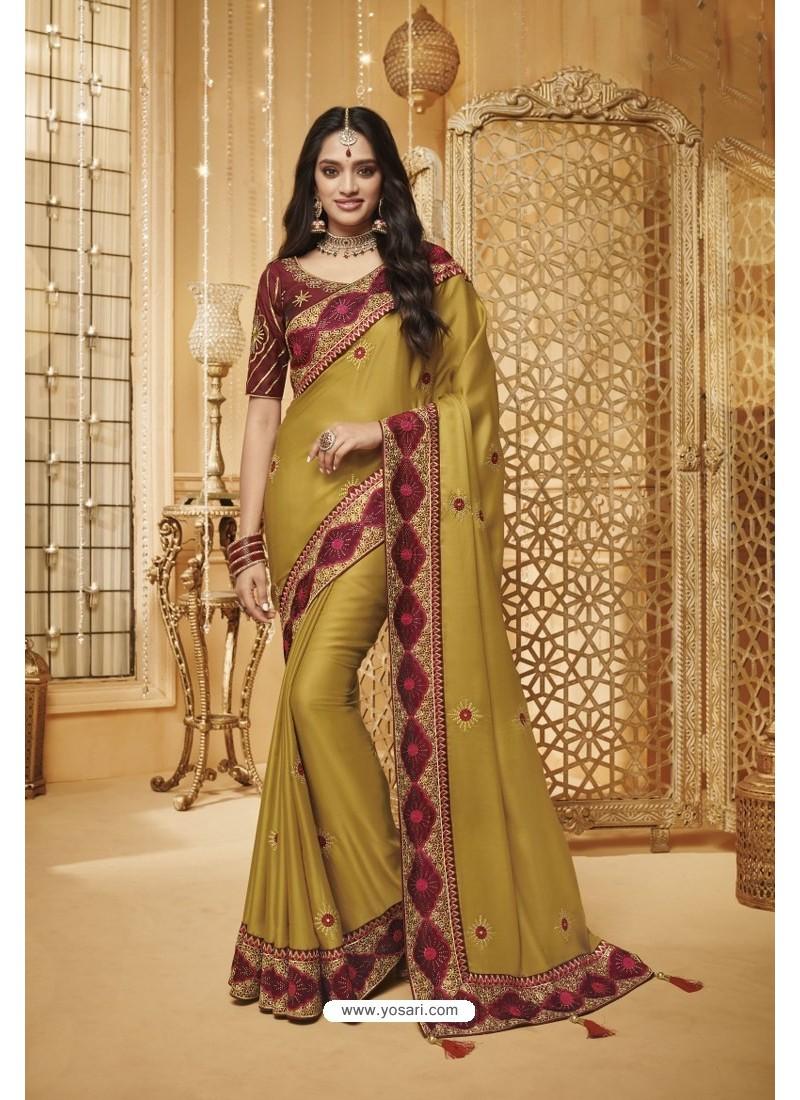 Marigold Designer Silk Party Wear Saree