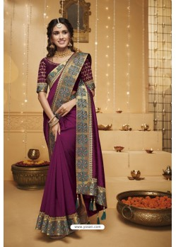 Purple Designer Silk Party Wear Saree