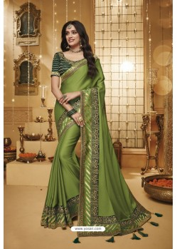 Green Designer Silk Party Wear Saree