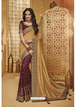 Gold And Maroon Designer Silk Party Wear Saree