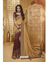 Gold And Maroon Designer Silk Party Wear Saree