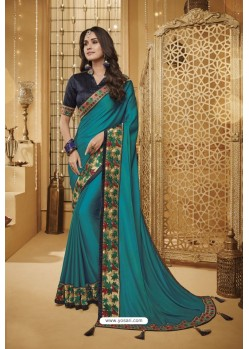 Teal Blue Designer Silk Party Wear Saree