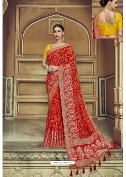 Red Fancy Fabric Designer Saree