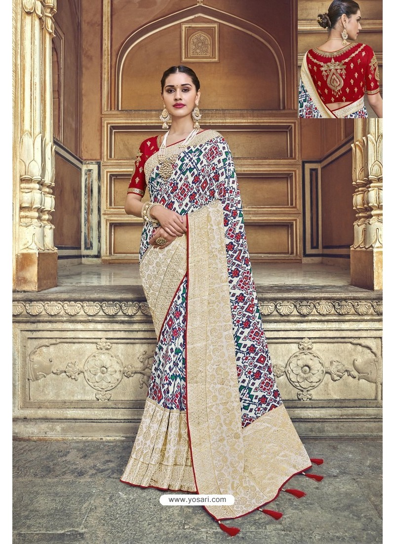 Off White Fancy Fabric Designer Saree