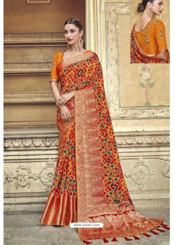 Orange Fancy Fabric Designer Saree