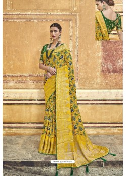 Yellow Fancy Fabric Designer Saree