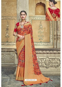 Dark Peach Fancy Fabric Designer Saree