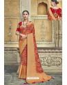 Dark Peach Fancy Fabric Designer Saree