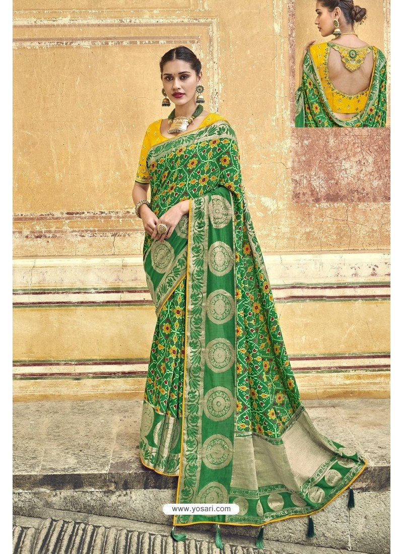 Forest Green Fancy Fabric Designer Saree