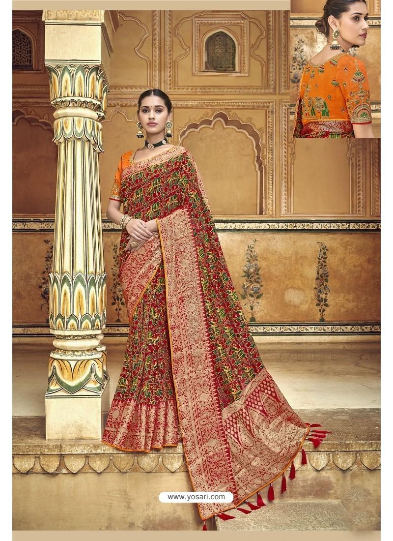 Maroon Fancy Fabric Designer Saree