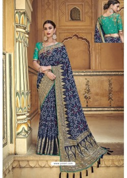 Navy Blue Fancy Fabric Designer Saree