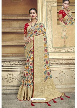 Beige Fancy Fabric Designer Saree