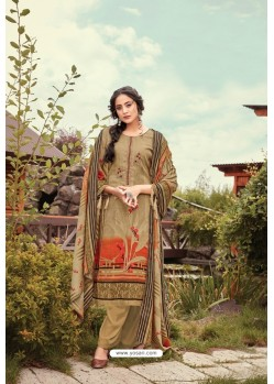 Beige Wool Pashmina Jacquard Designer Suit