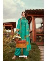 Aqua Mint Wool Pashmina Jacquard Designer Suit