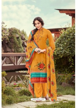 Orange Wool Pashmina Jacquard Designer Suit