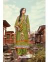 Mehendi Wool Pashmina Jacquard Designer Suit