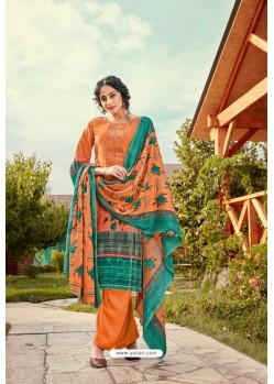 Amazing Orange Wool Pashmina Jacquard Designer Suit