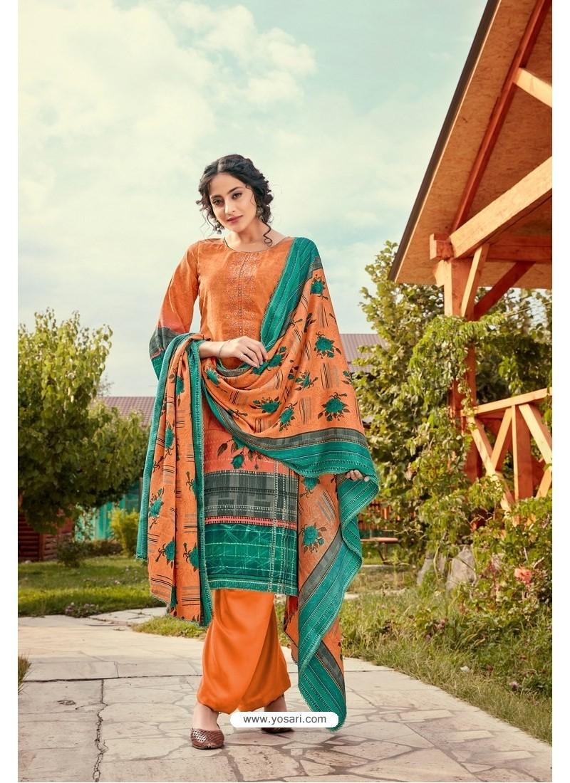 Amazing Orange Wool Pashmina Jacquard Designer Suit