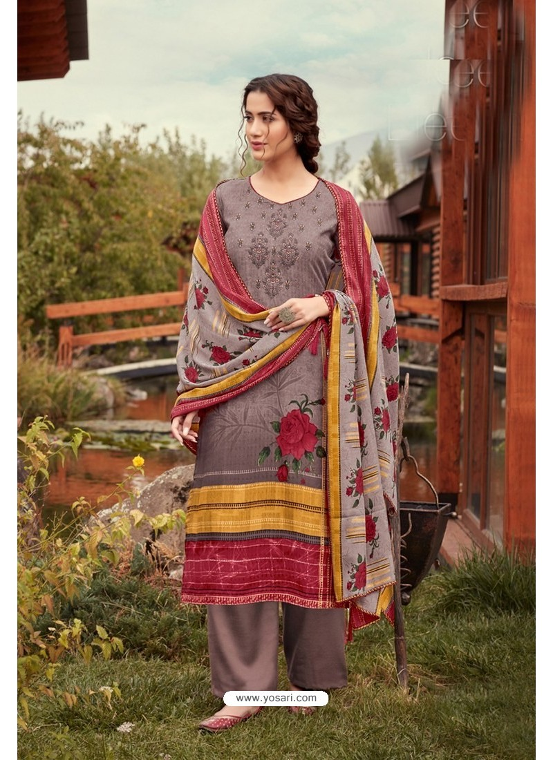 Light Brown Wool Pashmina Jacquard Designer Suit