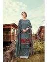 Teal Blue Wool Pashmina Jacquard Designer Suit