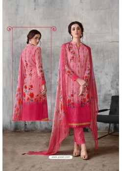 Light Pink Georgette Digital Printed Straight Suit
