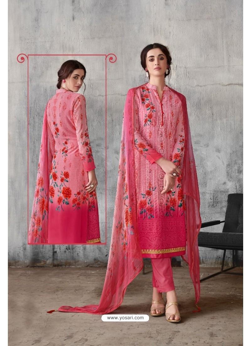 Light Pink Georgette Digital Printed Straight Suit