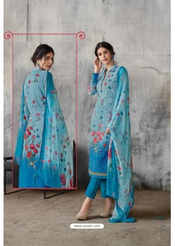 Blue Georgette Digital Printed Straight Suit