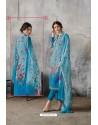 Blue Georgette Digital Printed Straight Suit
