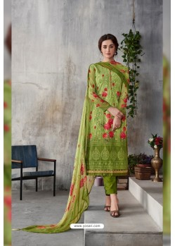 Green Georgette Digital Printed Straight Suit