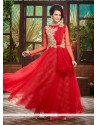 Beautiful Red Soft Net Designer Gown